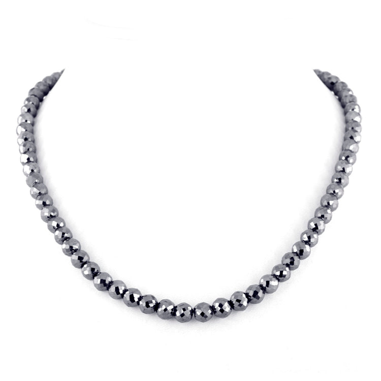 120 Cts Certified 6 mm 18 inches Conflict free black diamond necklace - ZeeDiamonds