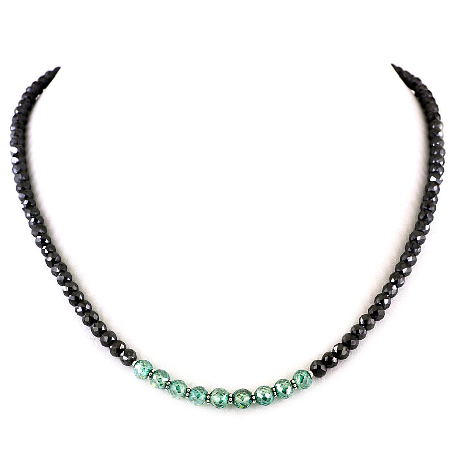 Gift Your Loved One This Spectacular Black Diamond Necklace With Blue Diamond Beads