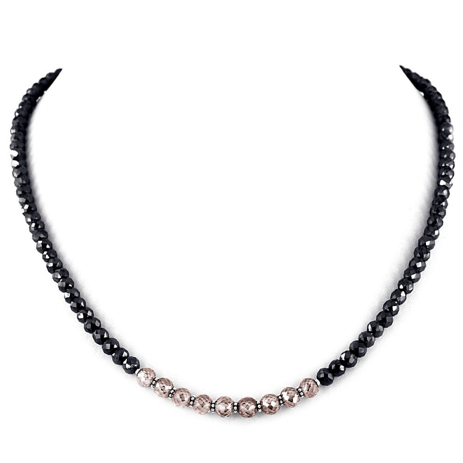 Unique Style 5*9 mm Black And Champagne Diamond Necklace