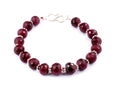7-8 mm African Ruby Gemstone Faceted Beads Bracelet - ZeeDiamonds