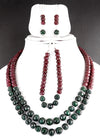 Ruby & Emerald Gemstone Necklace with Matching Bracelet with Earrings For Gift - ZeeDiamonds