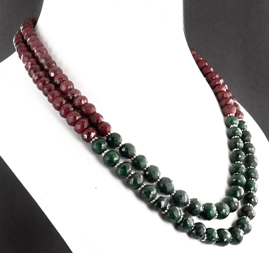 Ruby And Emerald Necklace With Matching Bracelet And Earrings - ZeeDiamonds