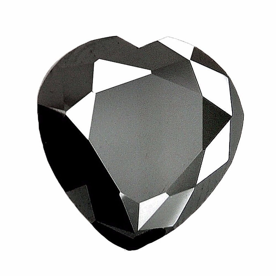 Black Diamond Solitaire-Heart Shape.3.55 Cts.Earth mined CERTIFIED.AAAA