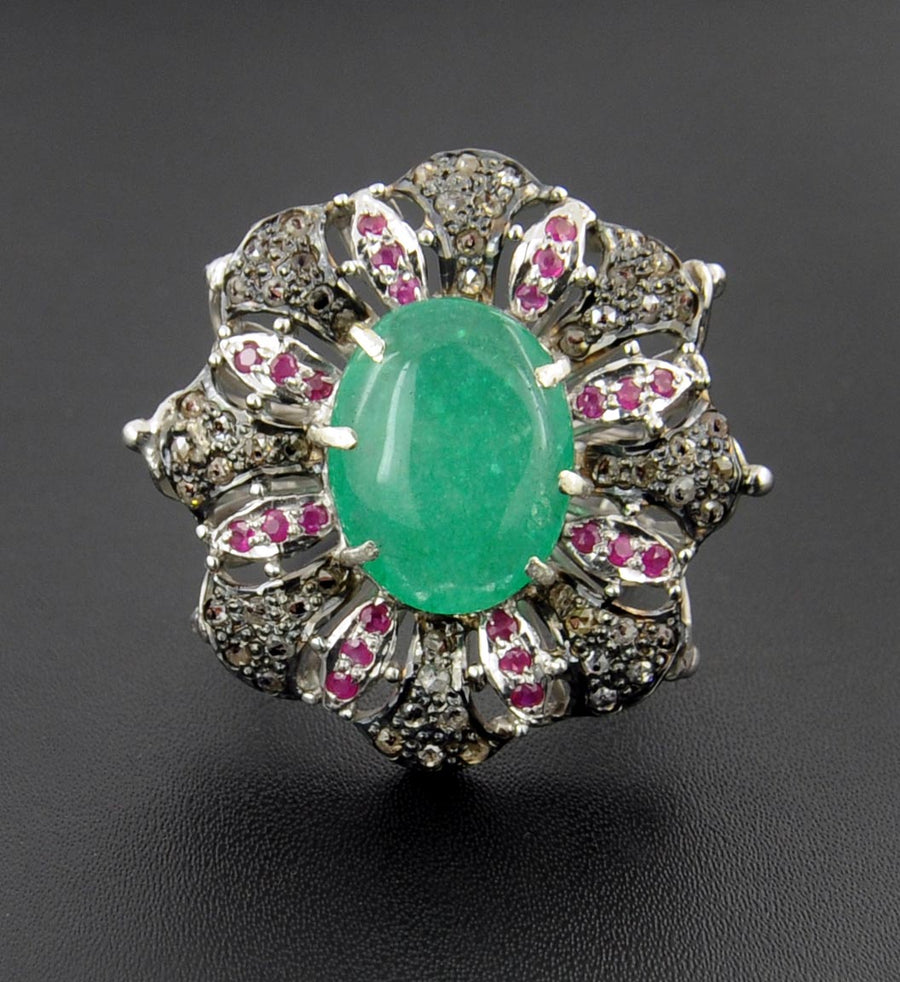 Victorian Style Emerald and Ruby Ring With Rose Cut Diamonds