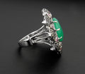 Victorian Style Emerald Ring With Rose Cut Diamonds - ZeeDiamonds