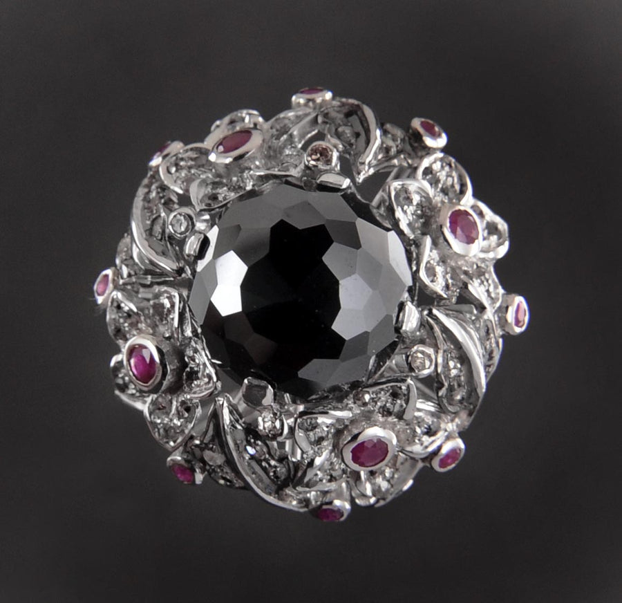 3 Ct Victorian Style Black Diamond Accents Ring for Women's - ZeeDiamonds