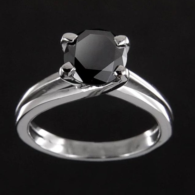 2 Ct Certified Round Brilliant Cut Black Diamond Solitaire Ring, Stylish Design - ZeeDiamonds