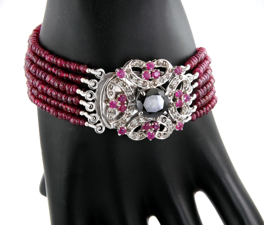 Six Row Ruby Bracelet With Designer Clasp Cum Pendant in Sterling Silver