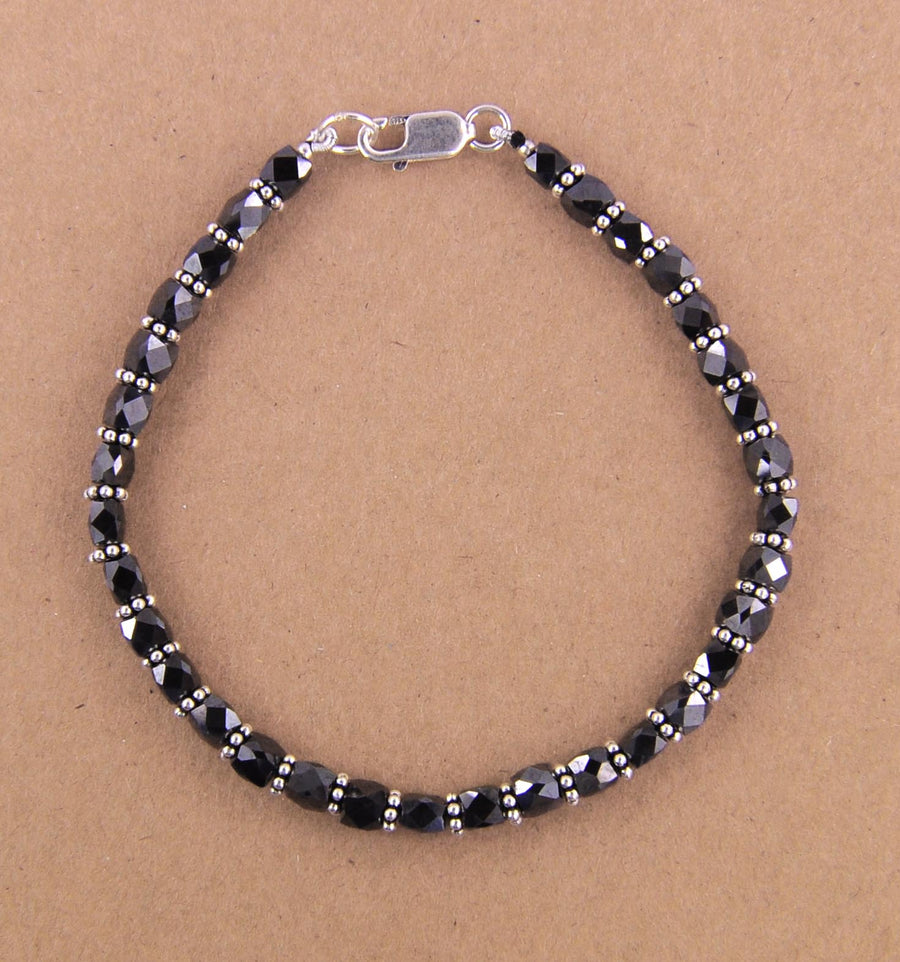 35 Cts Certified Black Diamond & Silver Goli Designer Bracelet For Women's - ZeeDiamonds