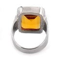 Emerald Cut Citrine Gemstone Mens Ring in Sterling Silver