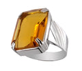 Certified Yellow Citrine Gemstone Men's Ring in Sterling Silver - ZeeDiamonds