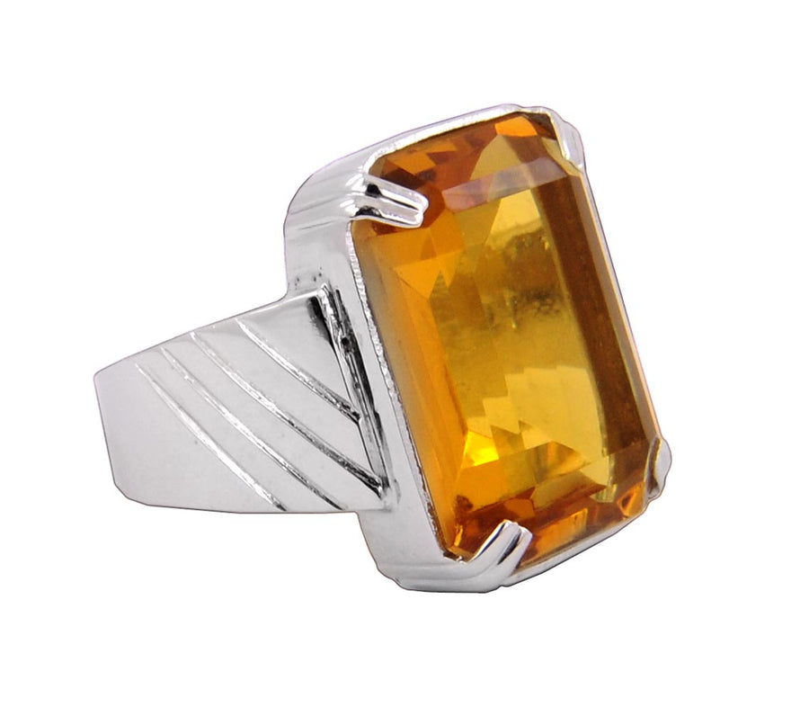 Emerald Cut Citrine Gemstone Mens Ring in Sterling Silver Heavy Setting