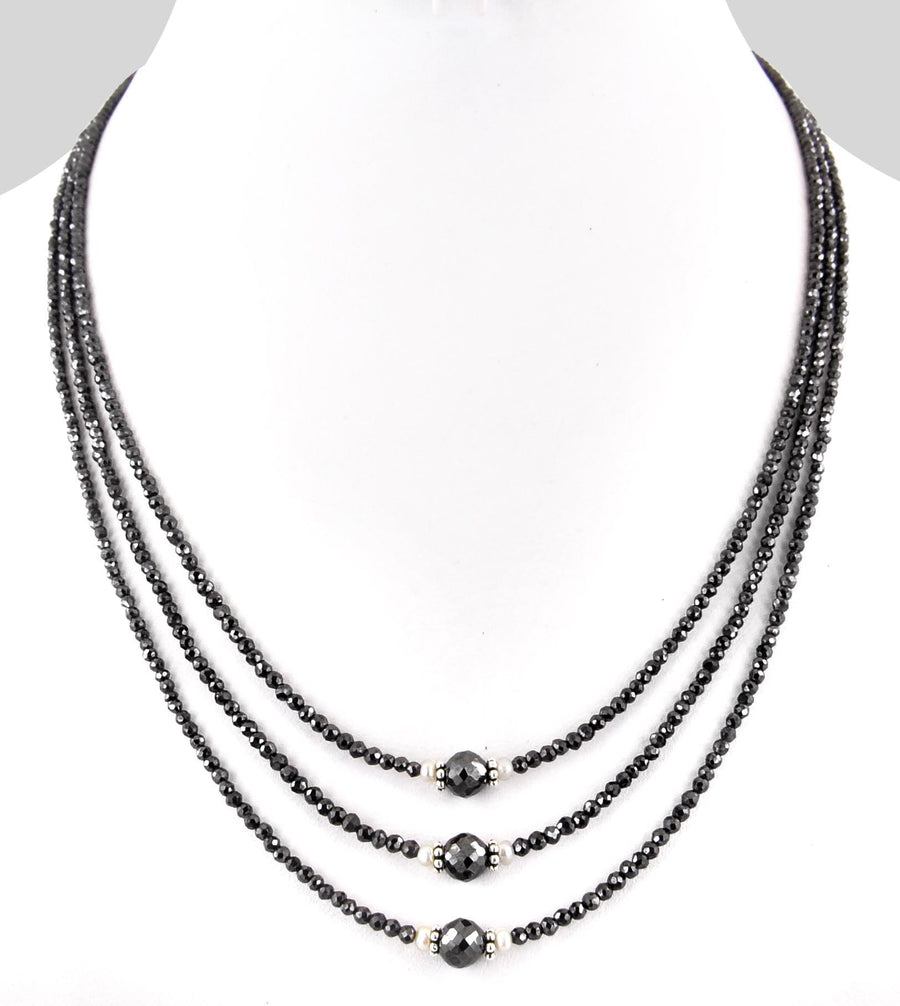 Three Row 3 mm Black Diamond Necklace With 10 mm Bead - ZeeDiamonds
