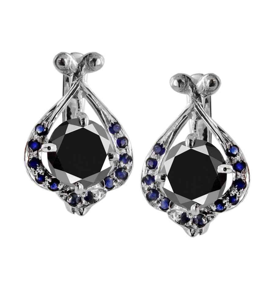 Round Cut Black Diamond Solitaire Studs With Blue Sapphire Accents