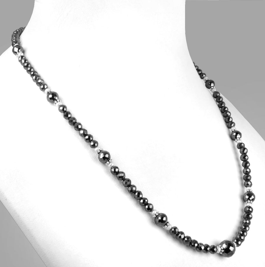 4mm - 8mm AAA Quality Black Diamond Beads Necklace - ZeeDiamonds