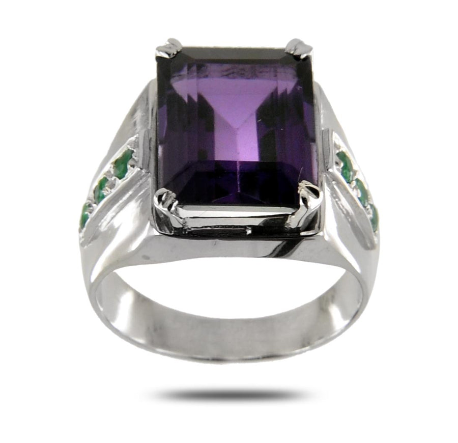 Emerald Cut Amethyst Gemstone Unisex Ring With Emerald Accents