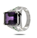 Emerald Cut Amethyst Unisex Ring in Sterling Silver