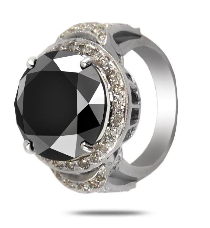 Black Diamond Solitaire Men's Ring With White Diamond Accents