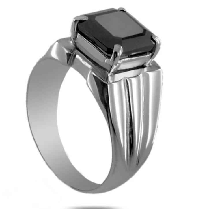 4 Ct Radiant Cut Black Diamond Ring in 925 Sterling Silver - ZeeDiamonds