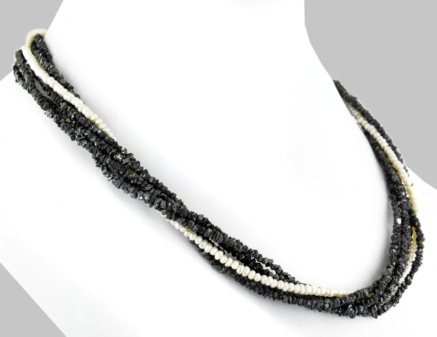 Five Row Rough Black Diamond & Freshwater Pearl Necklace