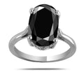 3.85 Carats Oval Shape Black Diamond Ring In Sterling Silver - ZeeDiamonds
