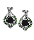 Round Cut Black Diamond Solitaire Studs With Emerald Accents