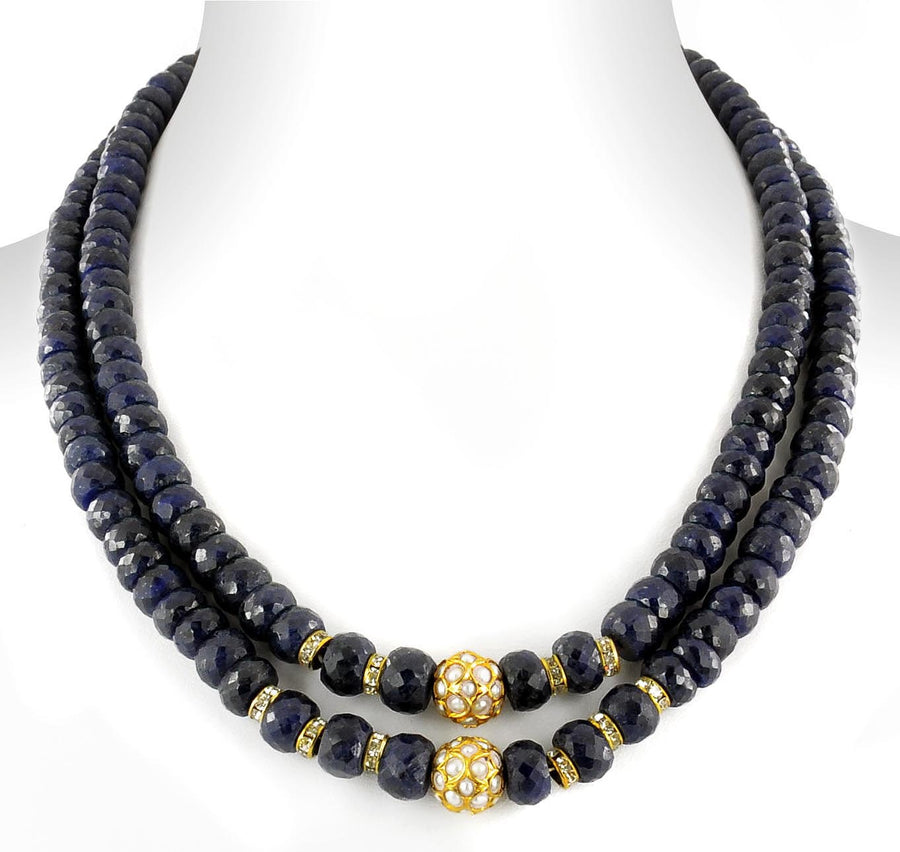7-8 mm, Blue Sapphire Gemstone Necklace With Gold Plated Beads - ZeeDiamonds