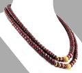 Two Row 7-8 mm, Ruby Gemstone Necklace With Gold Plated Beads