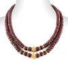 Two Row 7-8 mm, Ruby Gemstone Necklace With Gold Plated Beads - ZeeDiamonds