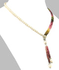 Elegant Lariat Style Tourmaline And Pearl Necklace - ZeeDiamonds
