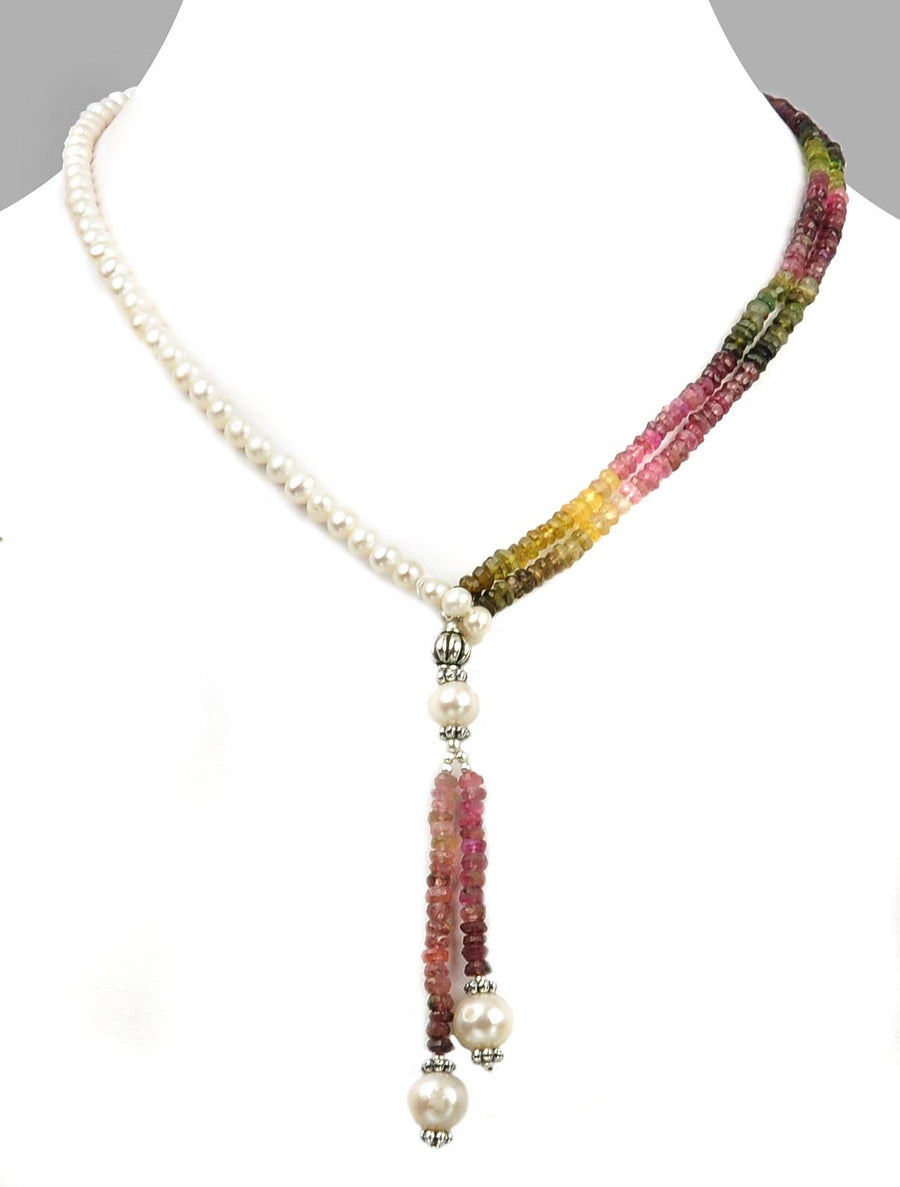 Elegant Lariat Style Tourmaline And Pearl Necklace