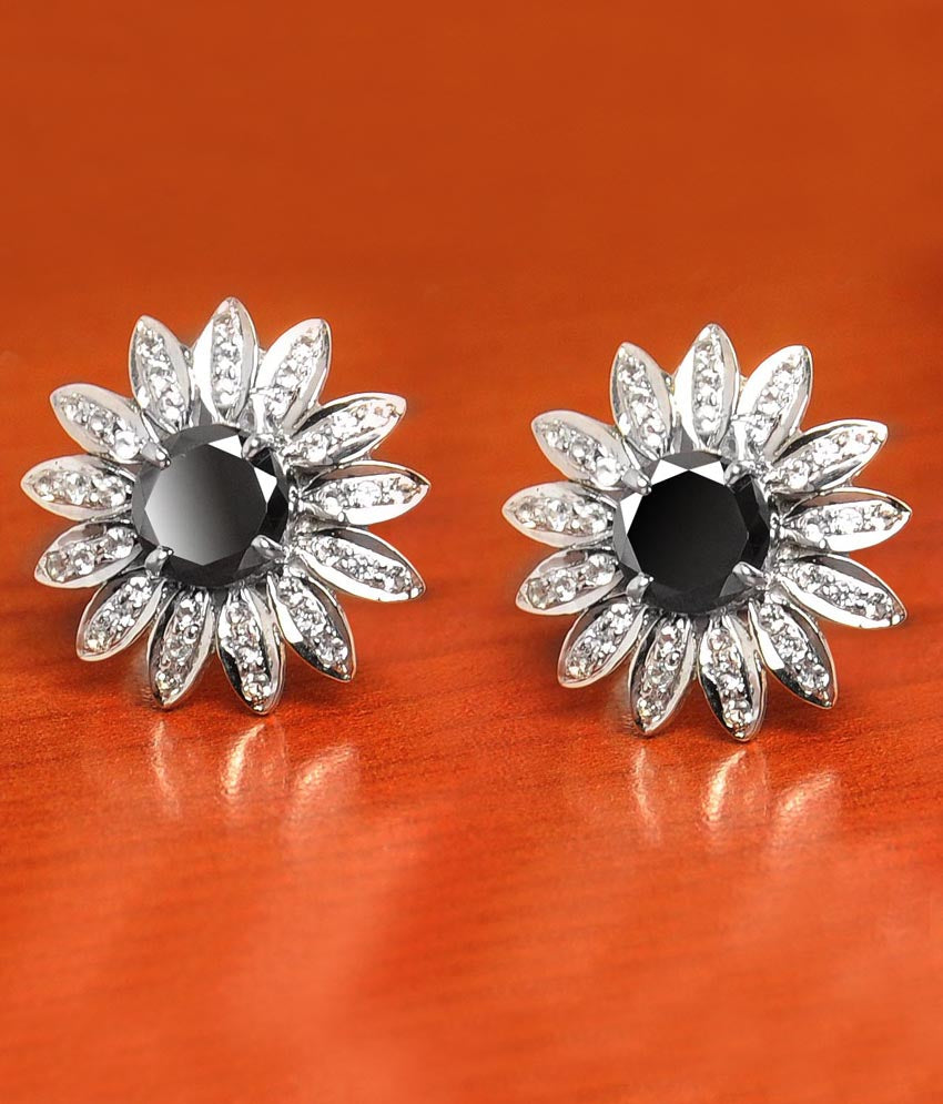 1 Ct Black Diamond Solitaire Studs With White Diamond Accents