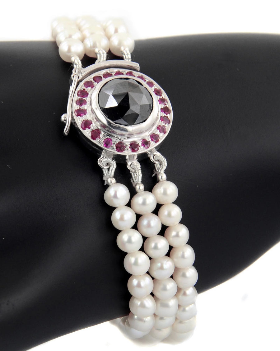 Three Row Freshwater Pearl Necklace With Black Diamond Clasp