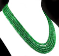 Five Strand Green Emerald Gemstone Beads Necklace, 100% Certified - ZeeDiamonds