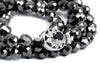 8 mm Faceted Black Diamond Necklace With black diamond solitaire