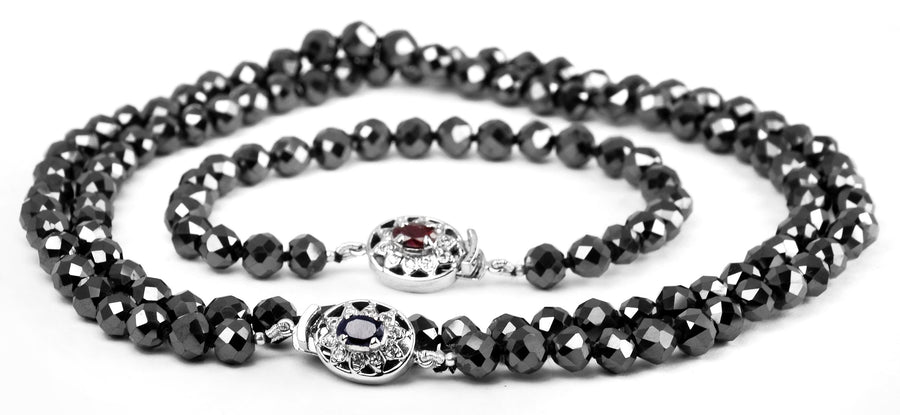 8 mm Derek Jeter Black Diamond Necklace with Bracelet Combo Set - ZeeDiamonds