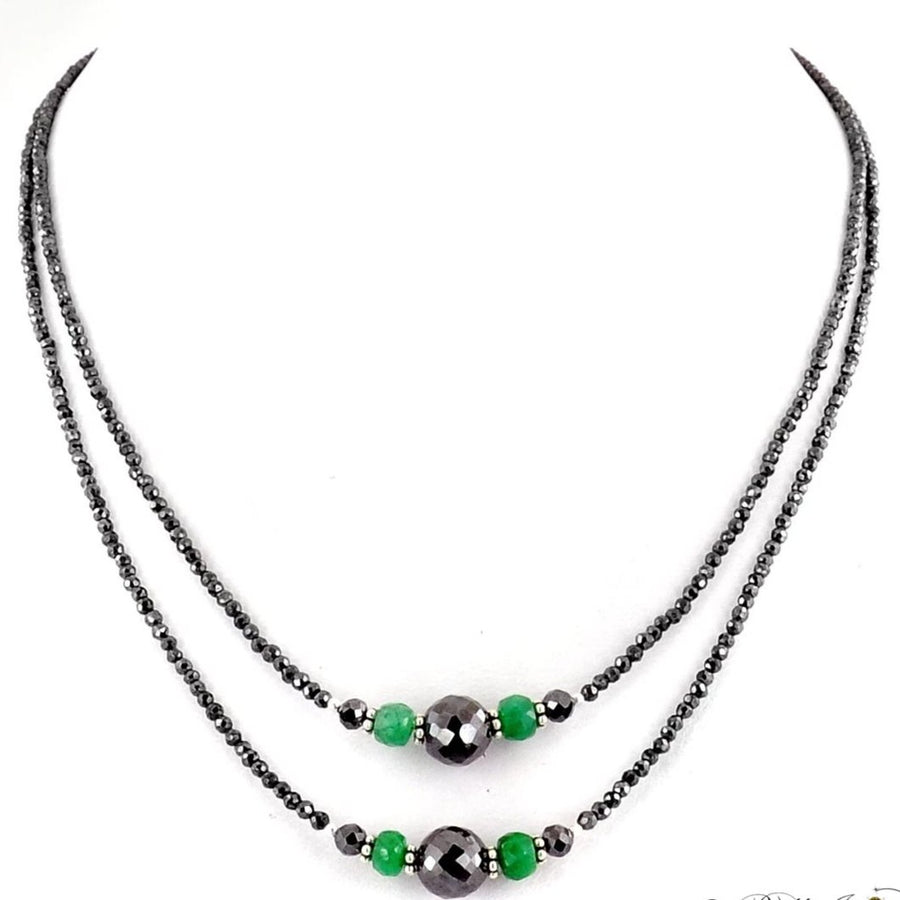 Two Row 2.5 mm Black Diamond Necklace With Emerald Beads - ZeeDiamonds