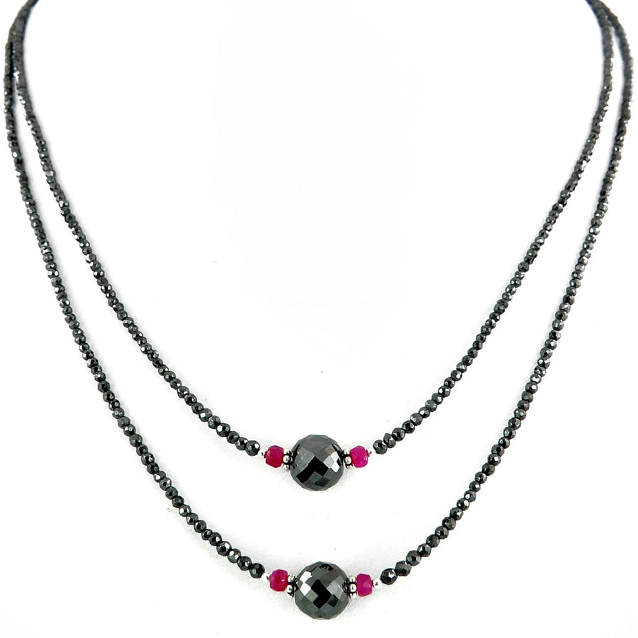2 mm Two Row Black Diamond Necklace With Ruby Beads, Free Studs - ZeeDiamonds