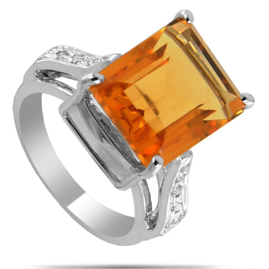 Citrine Gemstone Unisex Ring With White Diamond Accents - ZeeDiamonds