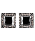 Princess Cut Black Diamond Solitaire Studs With Diamond Accents