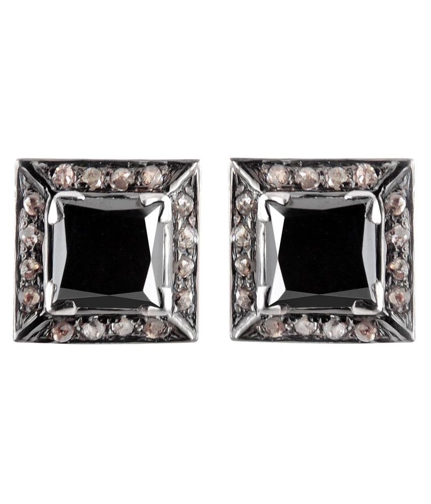 Princess Cut Black Diamond Solitaire Studs With Diamond Accents - ZeeDiamonds