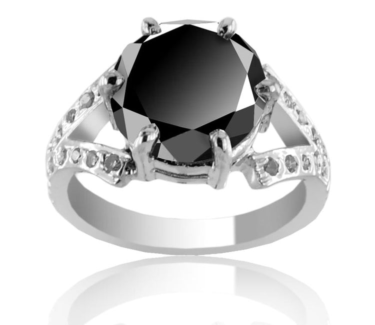 Black Diamond Solitaire Engagement Ring With Choice Of Accents