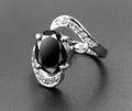 1.5 Ct Black Diamond Ring With Diamond and Gemstone Accents - ZeeDiamonds