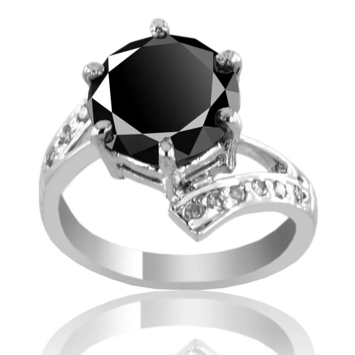 2.5 Carats AAA Certified Black Diamond Solitaire Ring with diamond accents - ZeeDiamonds