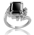 2.50 Ct Certified Designer Black Diamond Ring With White Diamond, Great Shine - ZeeDiamonds