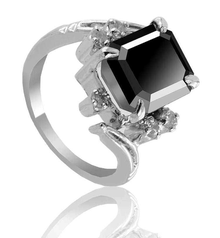 Black Diamond Ring With Rose Cut Diamond And Sapphire Accents