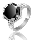 Black Diamond Solitaire Ring With Diamond And Gemstone Accents