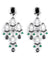 Black Diamond Chandelier Earring in 2 Tone Finish With Emerald Beads