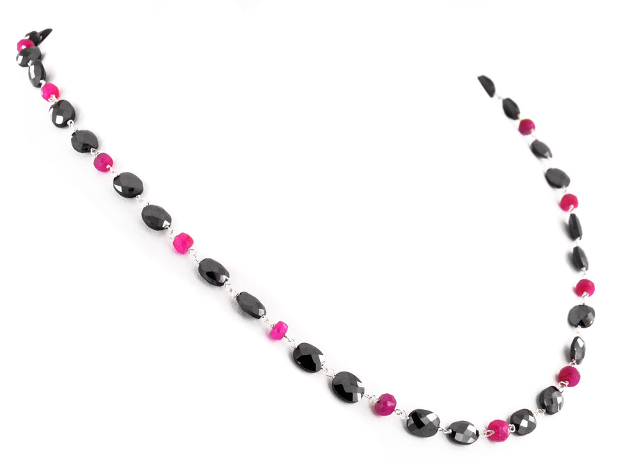 Stunning Oval Fancy Black Diamond Beads And Ruby Beads Necklace - ZeeDiamonds