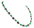 3-4 mm Colombian Emerald and 6-9 mm Black Diamond Fancy Beads Necklace - ZeeDiamonds